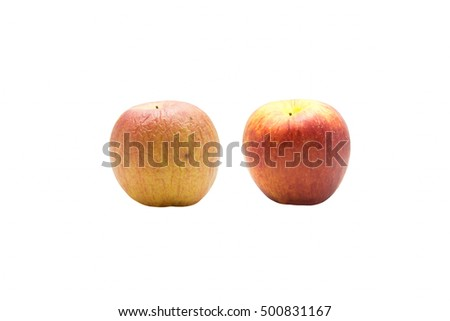 Concept of skincare and aging growth moisturizing cream, apple fruit of different age isolated on white background