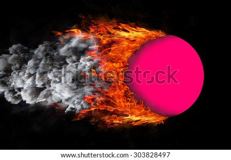 Concept of speed - Ball with a trail of fire and smoke - pink