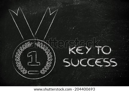 concept of success and being number one, gold medal
