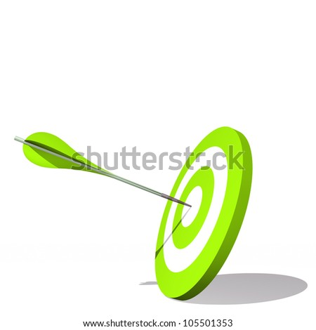 Concept or conceptual green dart target board with an arrow in the center isolated on white background, for success, competition, business, game, achievement, win, perfection, strategy or focus