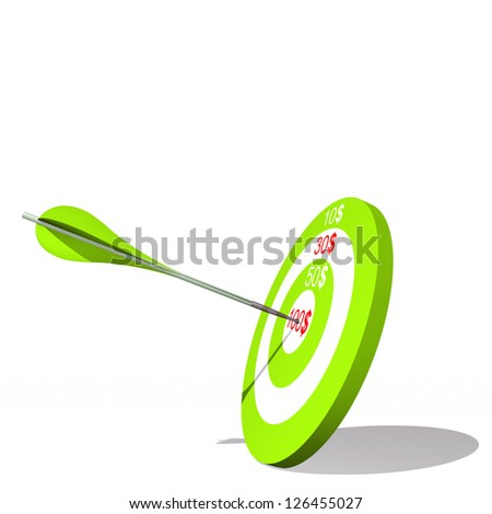 Concept or conceptual green target with dollar and an arrow in center isolated on white background as metaphor to money, business, success, ompetition, goal, achievement, dart, luck or win