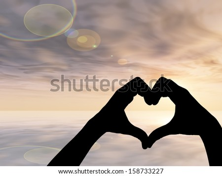 Concept or conceptual heart shape or symbol of human or woman and man hand silhouette over sky and sea at sunset background, for love, valentine, romantic, couple, wedding, romance, summer or sunrise