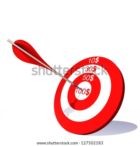 Concept or conceptual red target with dollar and an arrow in center isolated on white background as metaphor to money, business, success, ompetition, goal, achievement, dart, luck or win