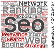 Concept or conceptual search engine optimization, seo square word cloud isolated on background, metaphor to marketing, web, internet, strategy, online, rank, result,  network, top, relevance - stock vector