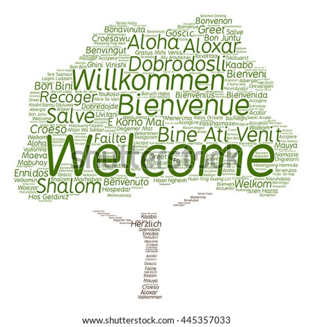 Concept or conceptual tree welcome or greeting international word cloud in different languages or multilingual, metaphor to world, foreign, worldwide, travel, translate, vacation or tourism