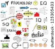 concept psychology, color doodle icons and symbols - stock photo