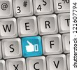Concept Social Media - Computer keyboard with a Like key, illustration - stock photo