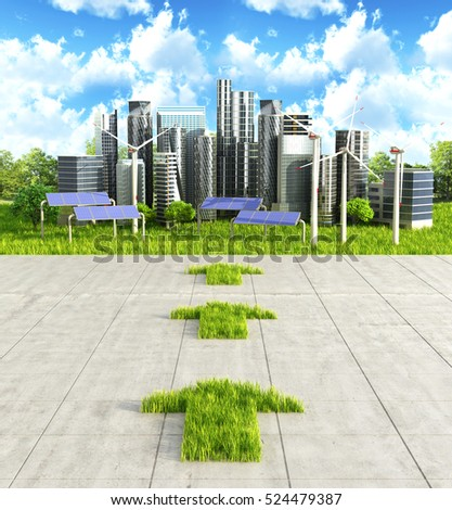 Concept the way to clean the city. Arrow from grass on a concrete background indicating green city. 3D illustration