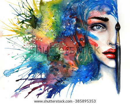 conceptual abstract painting girls beautiful half stock illustration 385895353 shutterstock. Black Bedroom Furniture Sets. Home Design Ideas