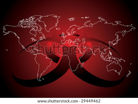 conceptual illustration of World map with virus sign in red color
