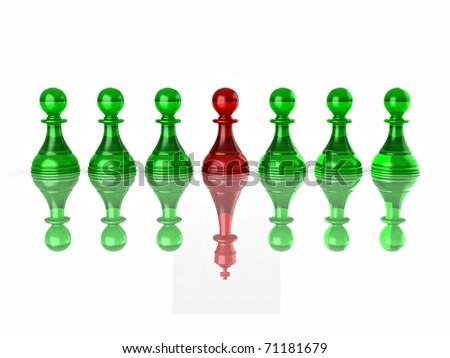 Conceptual image of magalomania or uniqe. Chess. 3d