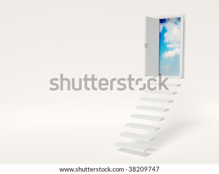 conceptual  stair on white bacground