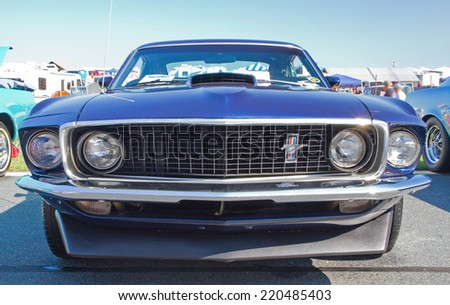 CONCORD, NC -- SEPTEMBER 20, 2014:  A 1969 Ford Mustang automobile on display at the Charlotte AutoFair classic car show held at Charlotte Motor Speedway.