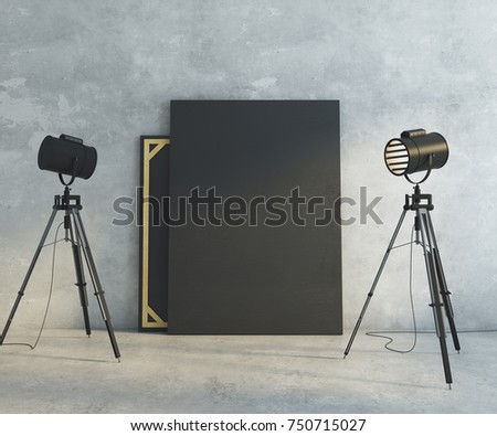 Concrete interior with professional lighting equipment and blank banner on wall. Gallery museum & Lighting Equipment Professional Photography Studio White Stock ... azcodes.com