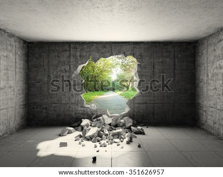 Concrete room with hole in wall and exit to freedom. 3d rendering.