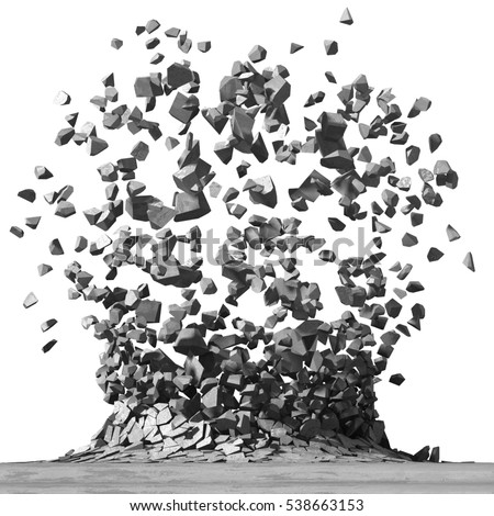 Concrete surface explosion destruction. Demolition stone background. 3d render illustration