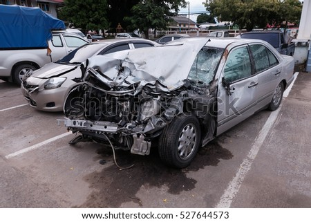 condition of the car was demolished after the accident collided violently.