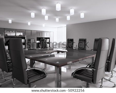 conference room with black furniture interior 3d
