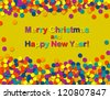 Confetti holiday card colorful background - stock vector