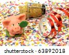 confetti, pig, happy new year - stock photo