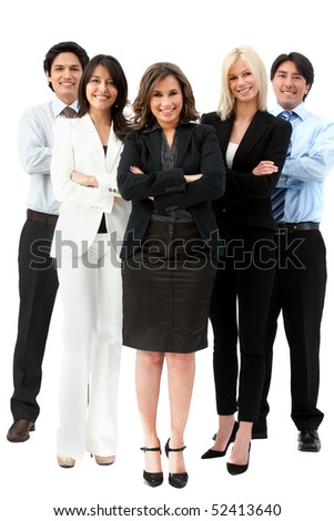 Confident business team smiling isolated over a white background
