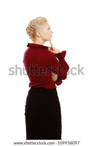 Confident business woman thinking - isolated over a white background