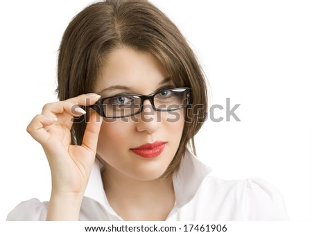 confident business woman wearing glasses