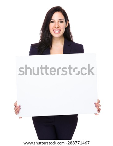 Confident businesswoman show with white board