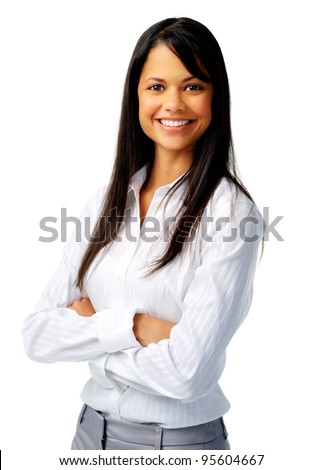 Confident hispanic woman in white blouse, isolated on white