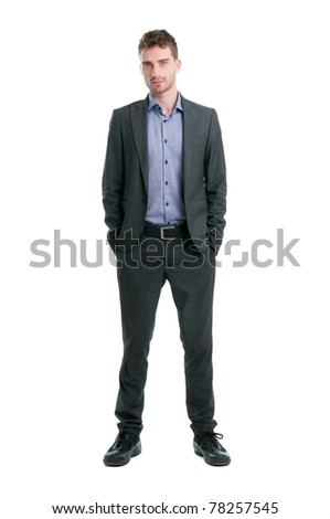 Confident young businessman looking at camera isolated on white background