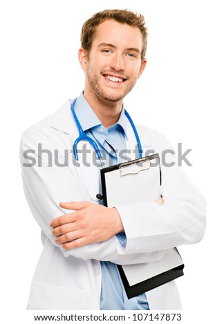 Confident young male medical doctor holding clipboard on white background