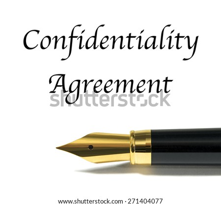 Confidentiality agreement with golden fountain pen