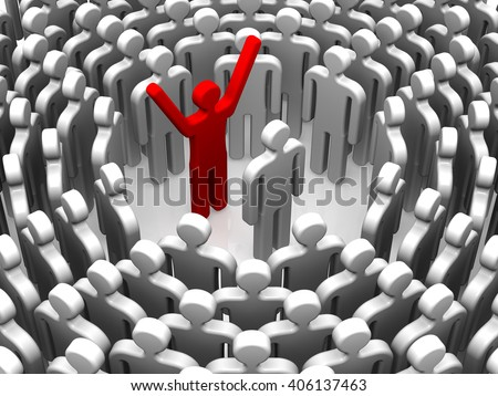 Conflict. The conflict between the two staff surrounded by a team of symbolic people. Isolated. 3D Illustration
