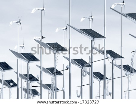 Conserving energy with wind generators and solar panels