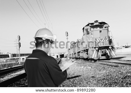 construction man works at train station