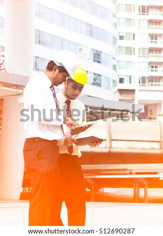 Portrait Architect Builder Studying Layout Plan Stock ...