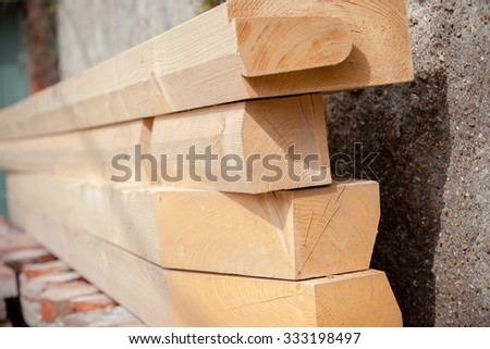 Construction of new wooden house. Beams frame close up shot with a selective focus