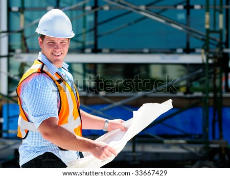 Construction Project Male Architect Checking The Blueprints Of A New Building