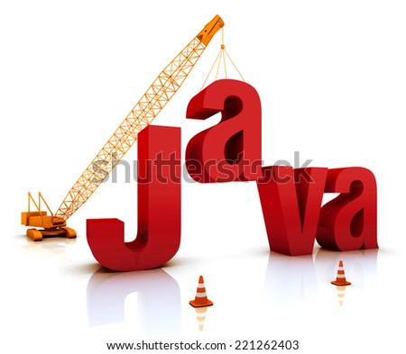 Construction site crane building a blue Java 3D text. Part of a series.