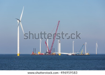 Construction site new offshore wind farm near the Dutch coast