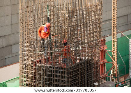 Construction site workers.