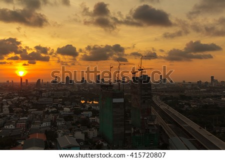 Construction sites in Bangkok, Thailand at sunrise