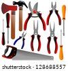 construction tools, shovel, shears, pliers, hammer, scissors, screwdriver, ax, - stock vector