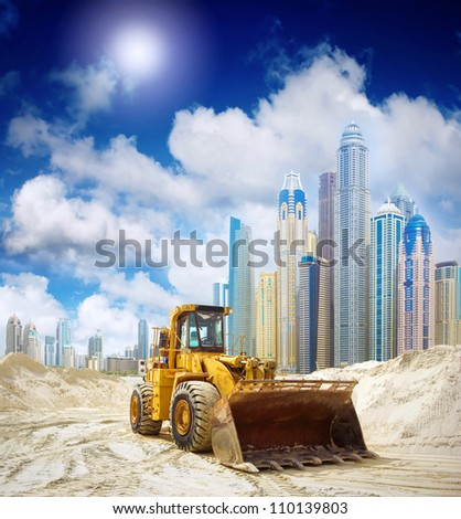 Construction tractor in Dubai, United Arab Emirates
