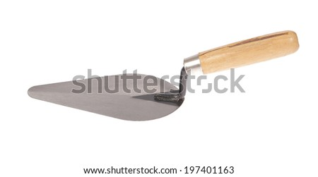 construction trowel with wooden handle on white background