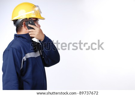 construction worker isolation on white in studio