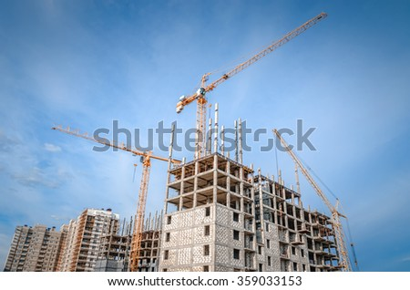 Construction works and high-rise building