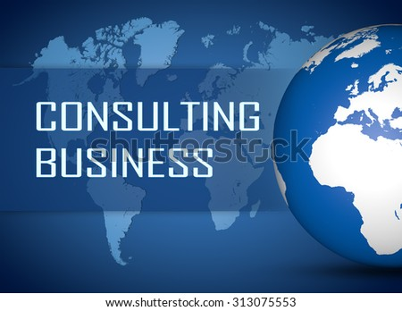 Consulting Business concept with globe on blue world map background