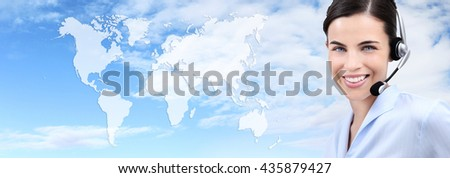 contact us, customer service operator woman with headset smiling isolated on international map sky background