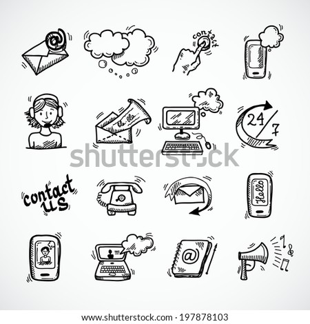 Contact us phone customer service user support isolated  illustration